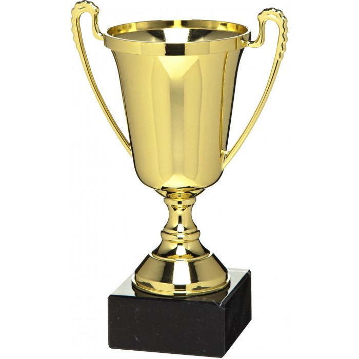 PLASTIC GOLD HANDLED CUP - AVAILABLE IN 3 SIZES - 7'' TO 10.5''